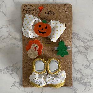 Baby Essentials Headband Holiday Clips Socks Set